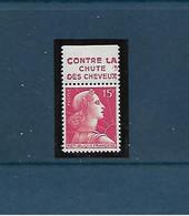 """15 F Marianne De Muller : TP Avec Bande Pub """"Contre La Chute Des Cheveux"""" (Pétrole Hahn) Neuf Sans Trace De Charnière - 1955- Marianne Van Muller"""