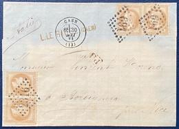 Lettre De Caen N°28B 2 Paires Pour L'italie à Bordighera, 1 Paire Obl GC 691 De Caen Et L'autre GC 2316 De Menton !! RR - 1863-1870 Napoléon III Lauré