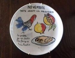 Piatto Ceramica Vicentina Serie Cucina Regionale Vicenza Anni '60 Mese Novembre - Bassano (ITA)