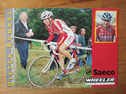 Cyclisme - Carte Publicitaire SAECO WHEELER 2000-2001 Cyclo Cross : Dieter RUNKEL - Cycling