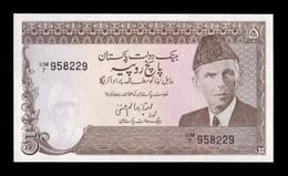 Pakistán 5 Rupees 1984-1999 Pick 38 Sign 11 SC UNC - Pakistan