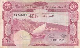 YEMEN DEMOCRATIC REPUBLIC YDR 5 DINARS 1965 P-4b VF SERIES Z - Yemen