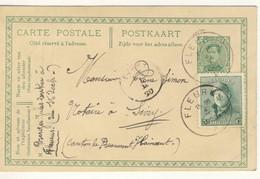 FLEURUS Sur Carte Postale Albert 1er 1921 + Roi Casqué 5 Centimes - 1915-1920 Albert I
