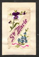 FANTAISIE - CARTE BRODÉE - STE MARIE - Fleurs - Borduurwerk