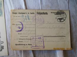 Quedlinburg A Harz Feldposkarte Camp De Prisonniers Guerre 14.18 Carte Censure Pour Nevers - WW I