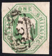 Timbre Grande Bretagne 1 Shilling Relief Reine Victoria Vert SG55 Sans Défaut - Used Stamps