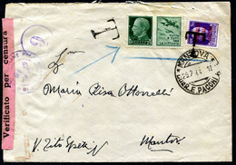 Z2595 ITALIA RSI 1944 Lettera In Distretto Affrancata Con Propaganda Di Guerra 25 C. E Tassata In Arrivo Per Il Doppio D - Marcophilia