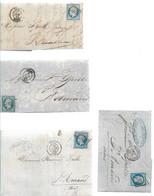 LOT   4 LETTRES CLASSIQUES  AFFRANCHIES AVEC BLEU     SCANS RECTO ET VERSO - 1849-1876: Période Classique