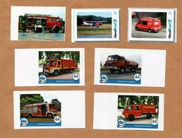 BRD - Privatpost - Nordkurier , Nordbrief , RPV - Feuerwehr Fire - 7 Werte Einsatzfahrzeuge, Flugzeug - Privados & Locales