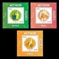 Malta 2021 Mih. 2159/61 (Bl.84/86) UN Campaign Against Climate Change Act Now MNH ** - Malta