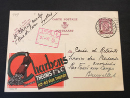 """Publibel 449 Heraldieke Leeuw 40c """"Charbons Theunis Fres & Cie"""" - Gebruikt Diamantstempel 1939 - Publibels"""