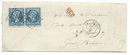 PAIRE N° 22 BLEU NAPOLEON SUR LETTRE / LILLE POUR GAND BELGIQUE / 24 MARS 1863 - 1849-1876: Klassik