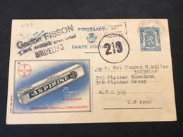 """Publibel 506 Heraldieke Leeuw 50c """"Aspirine Tegen Alle Pijnen"""" - Gebruikt Bruxelles Midi 1945 - Publibels"""