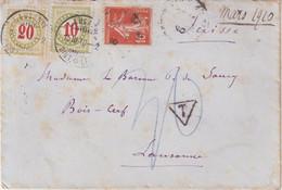 """SUISSE : LETTRE DE FRANCE . TAXEE A 30 . OBL . """" LAUSANNE """" .  1910 . - Briefe U. Dokumente"""