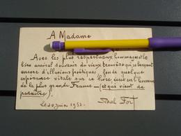 Dédicace De Paul FORT 30 Juin 1953 - Autographs