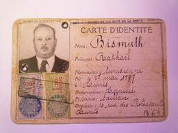 GP 2021 - 83  Carte D'identité TUNISIENNE  1940  :  Raphaël BISMUTH  Né à TUNIS  En 1887 - Non Classificati