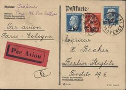 Avion Aviation Vignette Rouge Par Avion Paris Cologne Pour Berlin YT 219 222 227 CAD Paris 51 R Provence 15 1 27 CP - 1921-1960: Moderne