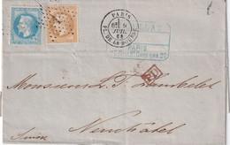 FRANCE 1868 LETTRE DE PARIS - 1849-1876: Période Classique