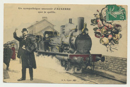 Auxerre - Carte Fantaisie Train Locomotive Gare...un Sympathique Souvenir De... - Auxerre
