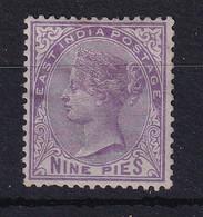 India: 1874   QV    SG77    9p  Bright Mauve      MH - 1858-79 Crown Colony