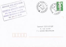 2,20 Marianne De Briat Obl Tàd Bordeaux Gare CD 5/5/1992 + Griffe (centre De Contrôle Douanier Postal) - Matasellos Manuales