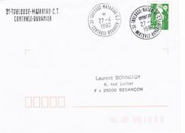 2,20 Marianne De Briat Obl Tàd 31 Toulouse Matabiau CT Contrôle Douanier 27/4/1992 - Matasellos Manuales