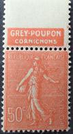 "R1491/219 - 1924/1932 - TYPE SEMEUSE LIGNEE - N°199j (IV) NEUF** LUXE BdF Publicitaire "" GREY-POUPON Cornichons "" - Advertising"