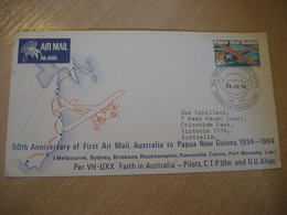 50th Anniv. First Flight Australia To PAPUA NEW GUINEA 1934 - 1984 Lae Port Moresby Cairns Townsville ... Cancel Cover - Papua Nuova Guinea