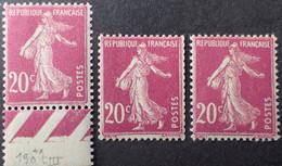 R1491/229 - 1924/1926 - TYPE SEMEUSE CAMEE - N°190 (III) + N°190a (IV) + N°190b (V) NEUFS** - 1906-38 Sower - Cameo
