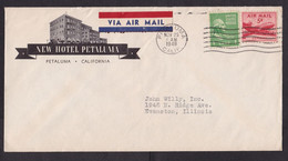 USA: Airmail Cover, 1949, 2 Stamps, Sent From New Hotel Petaluma, Air Label, TB Peace Cinderella At Back (minor Crease) - Covers & Documents
