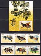 2017 Cuba Bees Insects Complete Set Of 6 + Souvenir Sheet   MNH - Unused Stamps