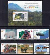 2017 Cuba Endangered Animals Whale Elephant Bear Tiger Complete Set Of 6 + Souvenir Sheet   MNH - Unused Stamps
