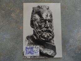 CARTE MAXIMUM CARD STATUE DE VICTOR HUGO PAR AUGUSTE RODIN FRANCE - Escritores