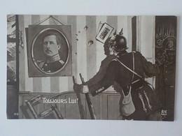 1915 CP Patriotique Satirique Humour Guerre 14/18 Soldat Allemand Casque à Pointe Roi Albert De Belgique - Humor