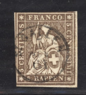 0ch  0941 -  Suisse  :  ZNr 22 G  (o)  Papier épais ,  Fil De Soie Absent , Obl. ST GALLEN - Usados