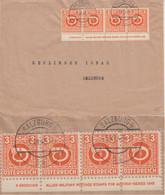 Österreich 3 G Posthorn 4er-Streifen Unterrand/Druckvermerk Brief Salzburg 1945 - Sin Clasificación