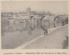 G3549 France - Pont Neuf A Cahors - Démolition - 1907 Vintage Print - Stampa - Stampe & Incisioni