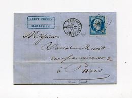 !!! CACHET AMBULANT MEDITERRANEE A LYON SUR LETTRE DE MARSEILLE POUR PARIS DE 1868 SIGNEE JAMET - 1849-1876: Periodo Clásico