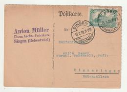 """0716 / Deutsches Reich - 1922 - Mi. 113 Auf Postkarte Ex """"Singen"""" Nach Sigmaringen / € 1.00 - Lettres & Documents"""