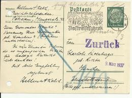 """Returned Postkarte From Potsdam To Munich 1937 With """"Auf Reisen Und Wanderungen Postreisecheck"""" Cancellation. - Storia Postale"""