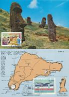ILE DE PAQUES - RAPA NUI ISLA DE PASCUA CHILI - 2 CARTES VIA PAPEETE TAHITI POLYNESIE > FRANCE - Sculpture