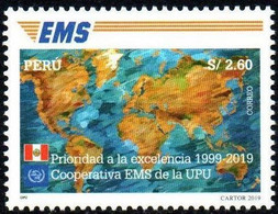 Peru 2020 **  20 Years Of Express Mail International. 20 Años De EMS. World Map - Peru