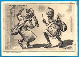 "En L'état CPSM Humour ALGERIE ""Types Nord Africains V"" Par Illustrateur Drack Oub ** Musiciens - Humor"