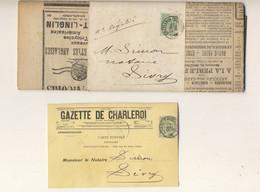 GAZETTE DE CHARLEROI Avec Bande Timbrée 1898 5 Centimes Et Carte Postale  Entête Gazette De Charleroi 1908 - 1893-1900 Thin Beard