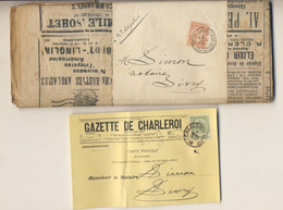 GAZETTE DE CHARLEROI Avec Bande Timbrée 1899 10 Centimes Et Carte Postale  Entête Gazette De Charleroi 1908 - 1893-1900 Thin Beard