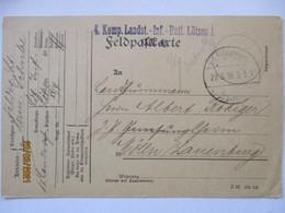 Feldpost Landsturm Lötzen 1916 Nach Mölln (74444) - Guerra 1914-18