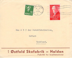 NORWAY - LETTER 29 IX 1939 HALDEN > ERFURT/DE /QE 31 - Cartas