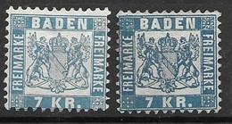Baden Mint No Gum Michel 25a And 25b 30 Euros (right Cheaper Stamp  3mm Thin) - Bade