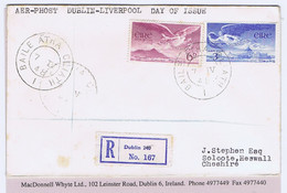 Ireland Airmail 1948 Angel Victor 3d And 6d On Registered Flown First Day Cover To England Via Dublin - Liverpool 7 VI 4 - Airmail