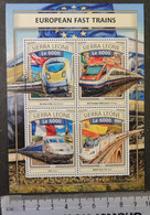 Sierra Leone 2016 European Fast Trains Railways Transport Tgv Renfe Alfa Pendular Eurostar M/sheet Mnh - Sierra Leone (1961-...)